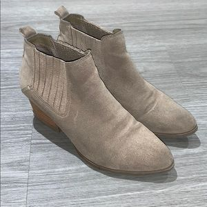 Light tan suede booties